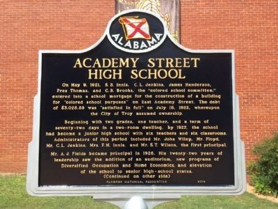 Academy Street High School Marker (Side 1) image. Click for full size.