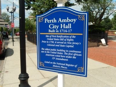 Perth Amboy City Hall Marker image. Click for full size.