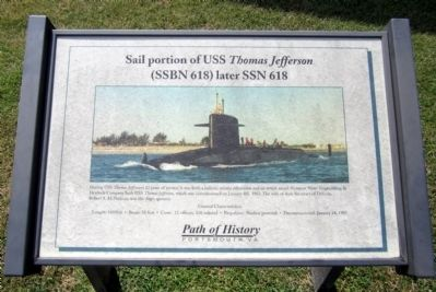 Sail portion of the USS <i>Thomas Jefferson</i> Marker image. Click for full size.