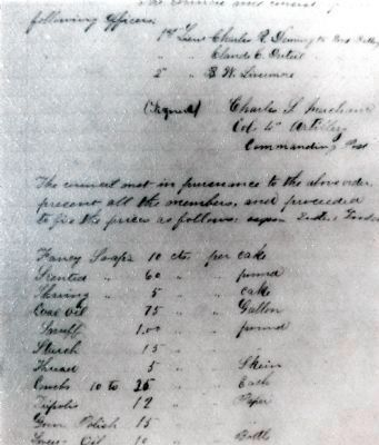 List of Sutler's Goods Stored in One of the Casemates image. Click for full size.
