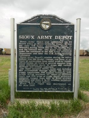 Sioux Army Depot Marker image. Click for full size.