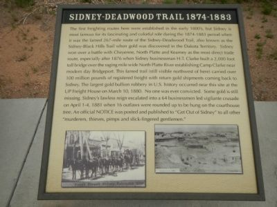 Sidney-Deadwood Trail 1874-1883 Plaque, Hickory Square Marker image. Click for full size.