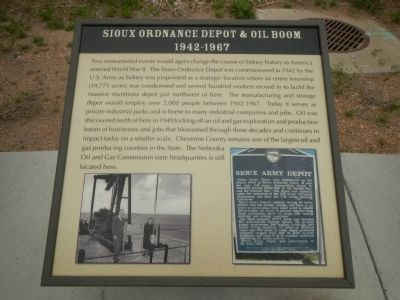 Sioux Ordnance Depot & Oil Boom 1942-1967 Plaque, Hickory Square Marker image. Click for full size.
