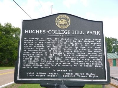 HUGHES-COLLEGE HILL PARK Marker image. Click for full size.