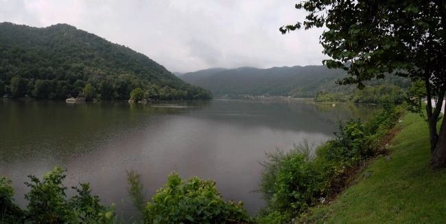 Looking downstream at the confluence of the New, Gauley and Kanawha Rivers image. Click for full size.