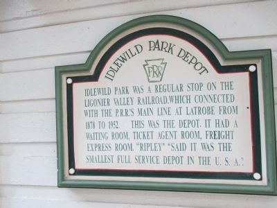 Idlewild Park Depot Marker image. Click for full size.