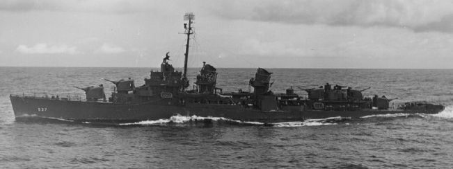 USS <i>The Sullivans</i> (DD-537): WWII - at sea off Ponape [<i>Pohnpei</i>] in Micronesia image. Click for full size.