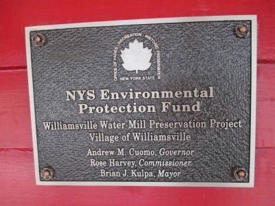 Williamsville Water Mill NY State Environmental Protection Fund Plaque image. Click for full size.