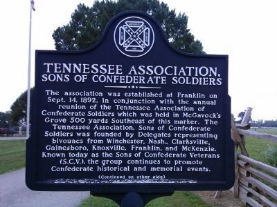 Tennessee Association Marker (Side A) image. Click for full size.