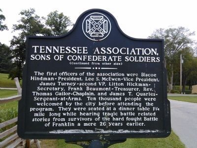 Tennessee Association Marker (Side B) image. Click for full size.