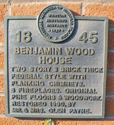 Benjamin Wood House Marker image. Click for full size.