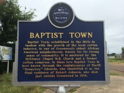 Baptist Town Marker (Front) image. Click for full size.