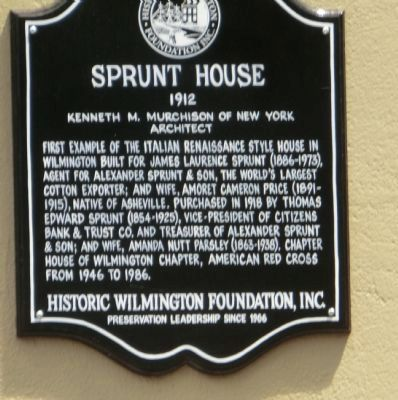 Sprunt House Marker image. Click for full size.