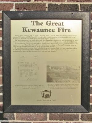 The Great Kewaunee Fire Marker image. Click for full size.
