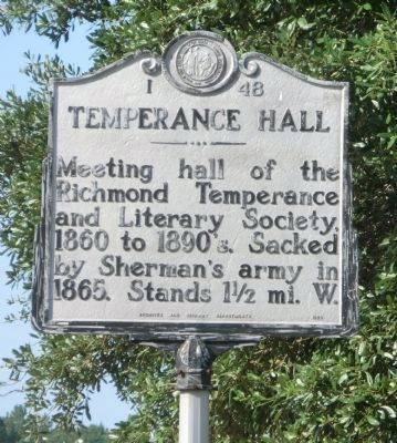 Temperance Hall Marker image. Click for full size.