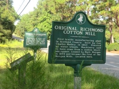 Original Richmond Cotton Mill Marker next to the Murdoch Morrison Marker image. Click for full size.