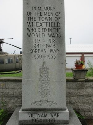 In Memory of the Men of the Town of Wheatfield Marker image. Click for full size.