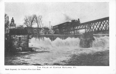 Old postcard of The Falls at Center Rutland made expressly for Nelson's Five Cent Store. image. Click for full size.