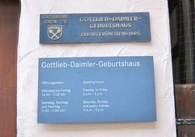 Birthplace of Gottlieb Daimler Marker image. Click for full size.