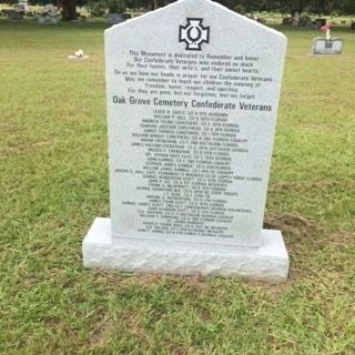 Oak Grove Cemetery Confederate Veterans Memorial (front) image. Click for full size.