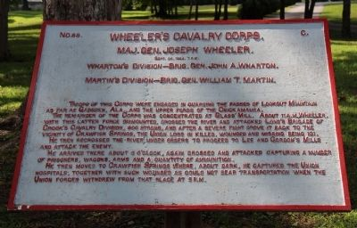Wheeler's Cavalry Corps Marker image. Click for full size.