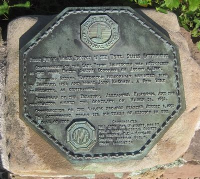 First Public Works Project of the United States Government Marker image. Click for full size.