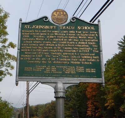 St. Johnsbury Trade School Marker image. Click for full size.