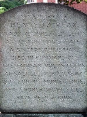 Henry Fairfax Marker image. Click for full size.