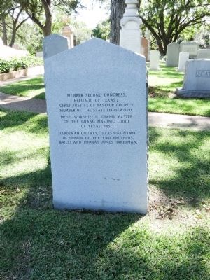 Back of Thomas Jones Hardeman Marker, text listed above image. Click for full size.
