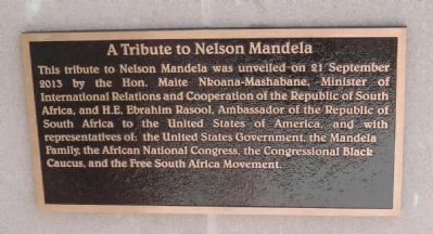 "Marker Panel 1: ""A Tribute to Nelson Mandela"" on the west face of the statue's pedestal image. Click for full size."