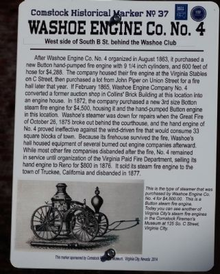 Washoe Engine Co. No.4 Marker image. Click for full size.