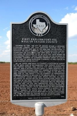First Exploratory Oil Well in Taylor County Marker image. Click for full size.