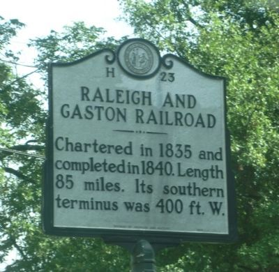 Raleigh and Gaston Railroad Marker image. Click for full size.