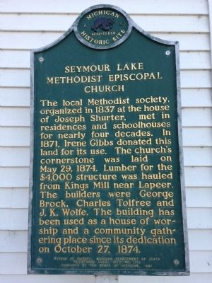 Seymour Lake Methodist Episcopal Church Marker image. Click for full size.