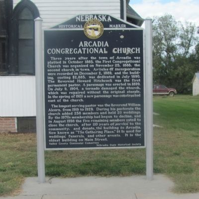 Arcadia Congregational Church Marker image. Click for full size.