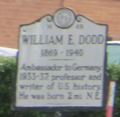 William E. Dodd Marker image. Click for full size.