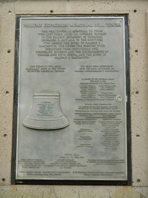 Halifax Explosion Memorial Bell Tower dedication plaque. image. Click for full size.