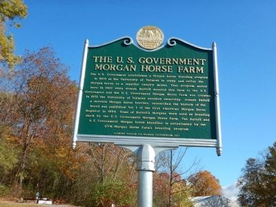 The U.S. Government Morgan Horse Farm Marker image. Click for full size.