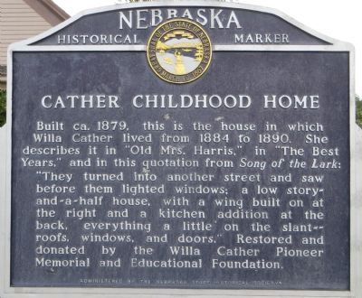 Cather Childhood Home Marker image. Click for full size.