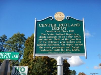 Center Rutland Depot Marker image. Click for full size.