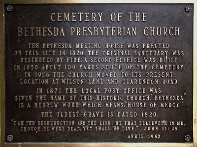 Cemetery of the Bethesda Presbyterian Church Marker image. Click for full size.