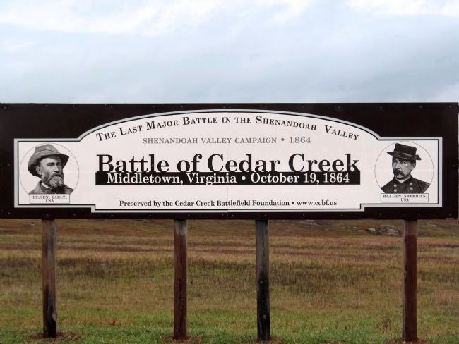 Battle of Cedar Creek Sign image. Click for full size.
