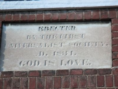 Cobblestone Museum First Universalist Church Inscription image. Click for full size.