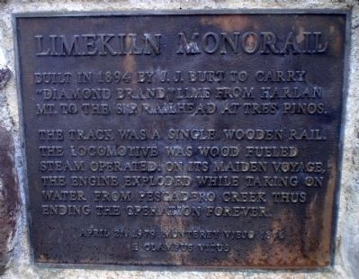 Limekiln Monorail Marker Photo, Click for full size