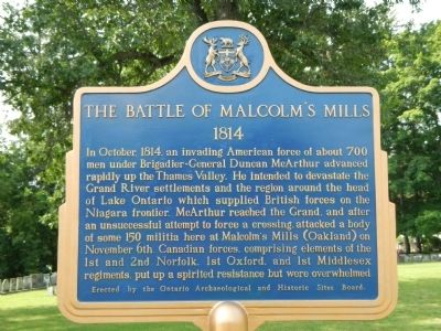The Battle of Malcolm�s Mills Marker image. Click for full size.