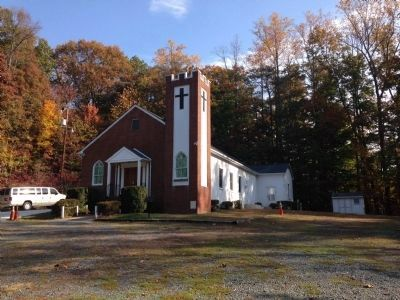 Little Forest Baptist Church and Marker image. Click for full size.