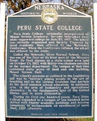 Peru State College Marker image. Click for full size.