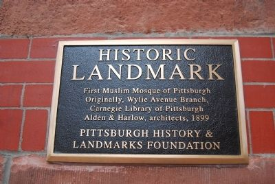 First Muslim Mosque of Pittsburgh Marker image. Click for full size.