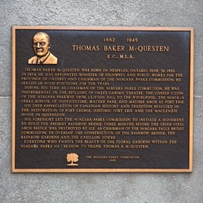 Thomas Baker McQuesten Marker image. Click for full size.