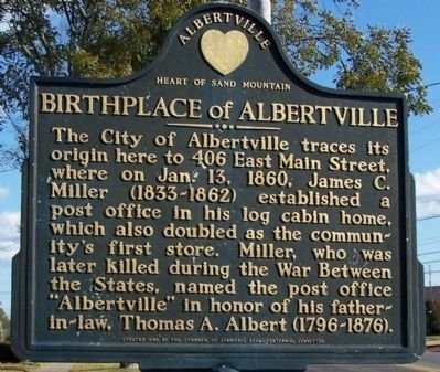 Birthplace of Albertville Marker image. Click for full size.